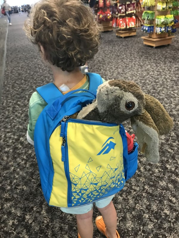 Amber's little one going on a trip with his Soft Bunny which is a great toy airplane toddler