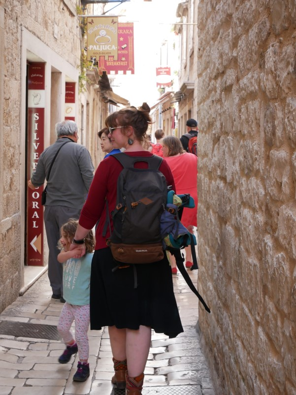 Babs & N discovering the streats of Trogir, Croatia
