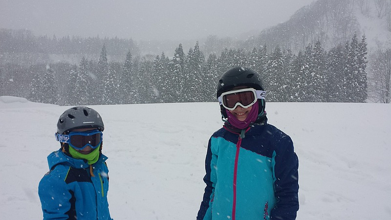 Rachel's children in the snow on Myoko Kogen