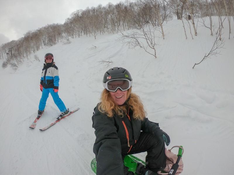 Evie and Emmie skiing in Club Med Tomamu, Japan