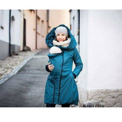 woman with baby wearing the Blue Angel Wings babyweaaring winter coat